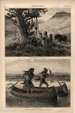 Indian Sketches - Indian Canoe Race -  Indians Offering Gifts to the Dead - 1874