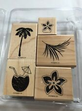 STAMPIN' UP! Unmounted Rubber Stamp TROPICAL PARTY ~ COCONUT DRINK, PALM TREE
