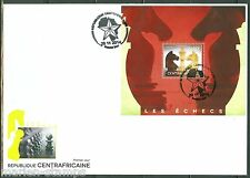 CENTRAL AFRICA 2014  CHESS PIECES SOUVENIR SHEET  FIRST DAY COVER