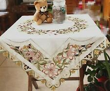 Gorgeous Pink Lily Flower Embroidery Cutwork Buttonhole Square Table Cloth