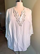 JH COLLECTIBLES Plus Size 3X White Linen Rayon Boho Sequin Beaded Satin Shirt