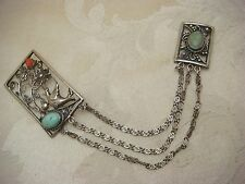 STERLING SILVER SWEATER PIN BROOCH TURQUOISE CORAL FILIGREE CARVED RELIEF BIRDS