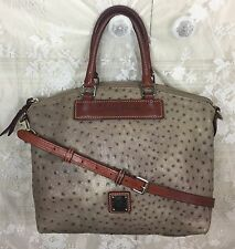Dooney And Bourke Florentine Grey Ostrich Brown Vacchetta Leather Satchel Bag