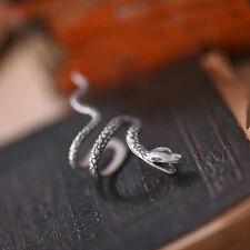 Retro Snake Punk Ear Cuff Solid 925 Sterling Silver Single Earring No Piercing