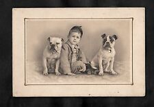 C1910 Greeting Card - Boy with two dogs 'Wisher for a jolly christmas'