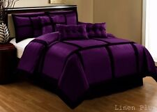 7 Piece Purple Black Comforter  Set Queen Size New @ LinenPlus Contemporary