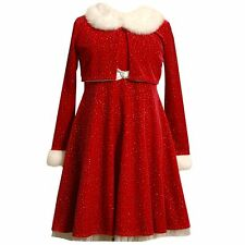 NWT Girls 7 BONNIE JEAN Sparkling Red Santa Christmas Dress & Jacket