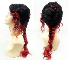 Black and Red Two Tone French Braid Wig Heat Resistant Costume Cosplay 20""