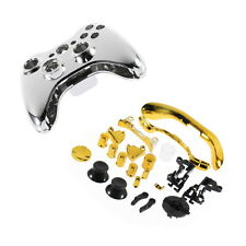 Chrome Silver modded Full Shell Gold Buttons for Xbox 360 Wireless Controller KK