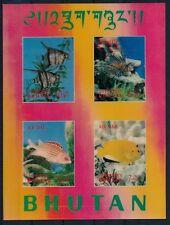 Fish, Marine Life, 3 D, Odd, unusual, Bhutan MNH SS