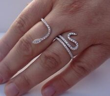 FINE 925 STERLING SILVER  DOUBLE FINGER SNAKE RING W/ 2 CT DIAMONDS /SZ 5 - 9