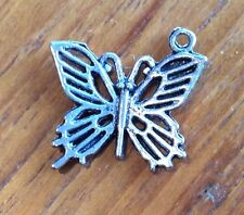 Butterfly Rockabily Silver Coloured Craft Charms