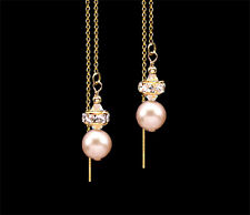 *CKstella*  Peach Pearl Fresh Water 14K Gold gf Ear Thread Threader Earrings