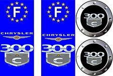 2 stickers adhésifs CHRYSLER 300 C  pour plaque immatriculation + 2 offerts