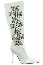 MORI ITALY KNEE HIGH BOOTS STIEFEL STIVALI LEATHER STUDS SILVER WHITE BIANCO 38