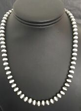 Native American Sterling Silver 7 mm Navajo Pearls Bead Necklace  19 Inch