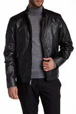 $550 NWT Andrew Marc New York Quilted Black Men's Leather Jacket Coat, Small S