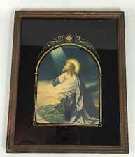 Vintage PRAYING JESUS PICTURE Black/Gold Background Reverse Painting Gethsemane