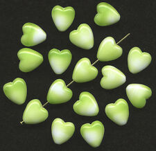 Vintage Heart Shape Beads 12mm Opaque Lime Green & White Mix 18 Pcs. Made W. G.