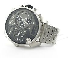 Diesel XXL DZ7221 Mr Daddy Black Dial Stainless Steel Bracelet Men's Watch - NEW