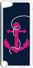 Large Navy Blue and Fuchsia Pink Anchor on iPod Touch 5th Gen 5G White TPU Case