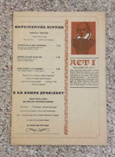 Vintage Menu ACT I Restaurant Broadway Theatre Times Square NY English Grill