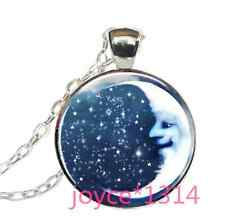 Vintage moon and stars Cabochon Tibetan silver Glass Chain Pendant Necklace#1142
