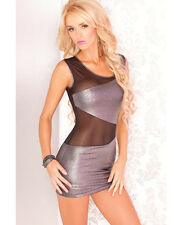 Pink Lipstick Mesh & Metallic Mini Dress New Adult Womens Sexy Cloth Silver M/L