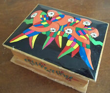 MACAWS PARROTS handmade hand PAINTED WOOD trinket jewelry gift BOX birds