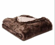 Threshold Faux Fur Throw Blanket 50 X 60 Brown Mink Sable Bear Animal Print NEW