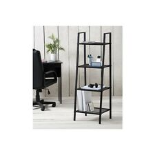 Modern Metal Ladder Shelf Unit Bookshelf  Showcase Storage Living Study Black