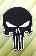 BLACK PUNISHER IRON ON PATCH EMBROIDERED BADGE APPLIQUE BIKER RACING SPORT SEW