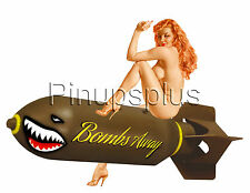 Nude Bomber Bombs Away Nose Art Redheaded Pinup Girl Decals Waterslide S950