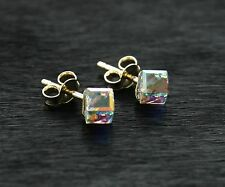 9ct gold delicate Crystal cube 4mm stud earrings