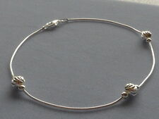 "NEW-ITALIAN STERLING SILVER-11""-ANKLE BRACELET-SNAKE CHAIN w/FACETED BEADS"