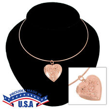 USA Made Rose Gold Tone Heart Photo Locket Pendant Collar Necklace Valentines
