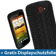 Schwarz Silikon Skin Tasche Hülle mit Reifen Profil für HTC One S