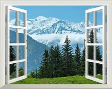 """Wall Mural - Snow Mountain and Pine Trees out of the Window Wall Decor - 24""""x32"""""""