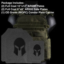 AR500 Body Armor | Front, Back and Side Plates + Green Condor Carrier Level III