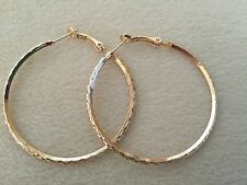 """Pretty 9k Yellow Gold Filled Large 2"""" Nicely Textured Round Hoop Earrings"""