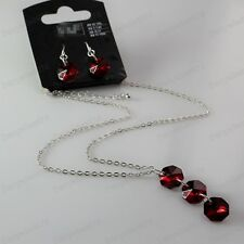 RED GLASS BEAD jewellery SET pendant NECKLACE EARRINGS silver new fashion chain