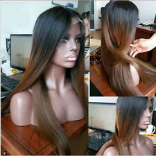 "18"" Silky Straight  Black  with Dark Brown Lace Front Wig Heat Resistant"