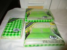 VTG NO-IRON TWIN BED SHEET SET NEw nib green checkered complete set