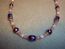 Hand Crafted 17 inch MULTI COLOR Mixed GLASS Bead, White Swarovski NECKLACE G-22