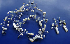 vintage real PEARL cream & AB glass bead wire necklace bracelet earring set C57