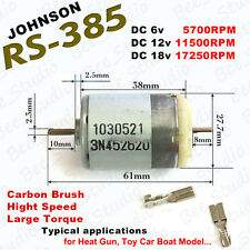 Double Shaft JOHNSON RS385 DC 6v~18v 12v High speed Large Torque DC Micro Motor