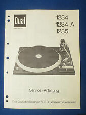 DUAL 1234 1234A 1235 TURNTABLE SERVICE MANUAL ORIGINAL GERMAN FACTORY ISSUE