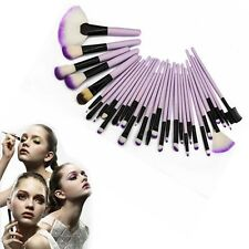 Professional 32pcs Purple Superior Soft Cosmetic Brush Set +Pouch Bag Case ST