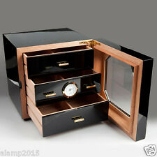 COHIBA Black Gloss Piano Cedar Wood Cigar 3 Drawers Cabinet Humidor W/Hygrometer