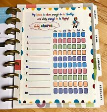 Daily Chores Cleaning Schedule Dashboard Insert for use w/ HAPPY Planner
